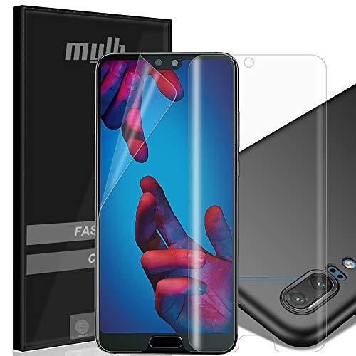 MYLB 3 Pack 2x Soft TPU Full Cover Displayschutzfolie mit 1x PC Hardcover Case für Huawei P20