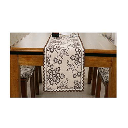 Rubyia Caminos para Mesas, Moda Patrón de Tejido Table Runner Decoración de Mesa de Amongas, Paño, 30 x 180 cm, Café