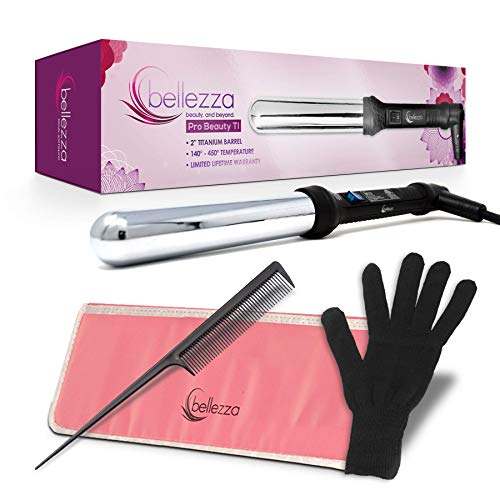 Bellezza Hot Curling Iron Wand Lumino Collection 2 inch Professional Clipless Curlers Limited Edition - 1 Premium Curler with Graduated Clipless Barrel - Curl Flat Hair Quickly - 4 Piece Pro Set