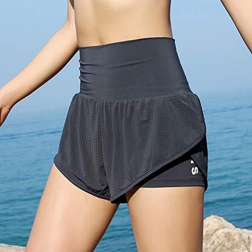 Festnight Pantaloncini da Corsa da Donna 2-in-1 Cintura a Compressione Fodera di Compressione sdraiato Yoga Leggings Allenamento Fitness Palestra Atletica casa Jogging Pantaloni Abbigliamento