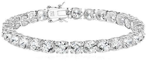 Amazon Essentials Platinum Plated Sterling Silver Round Cut Cubic Zirconia Tennis Bracelet (6mm), 7