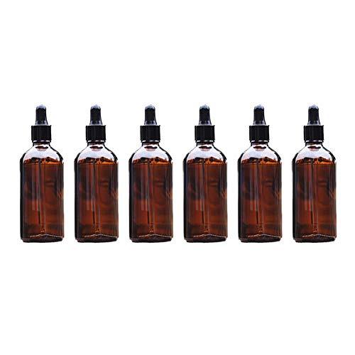 Vikenner 6 Stück Braunglasflasche Make-up Container leere braune Glasflasche Tragbare Reiseflaschen Reiseset Transparente ätherische Öle Parfüms Boston Round Flaschen Tropfer Pipetten 100ml
