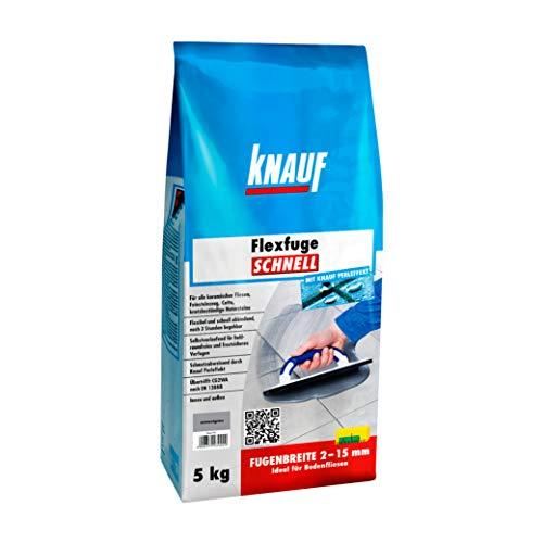 Knauf Flexfuge SCHNELL, schnellhärtender Fugen-Mörtel für alle Boden-Fliesen – flexibler Fliesen-Zement mit Extra-Haftformel, schmutzabweisende Flex-Fuge, Zementgrau, 5-kg