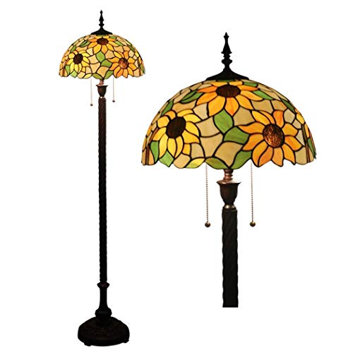 16 Inch Tiffany Style Floor Lamp Stained Glass Shade Floor Lights Vintage Reading Standing Light for Living Room Bedroom Office Cafe, Zipper Switch, E27 (Design : 13) (Color : 11)