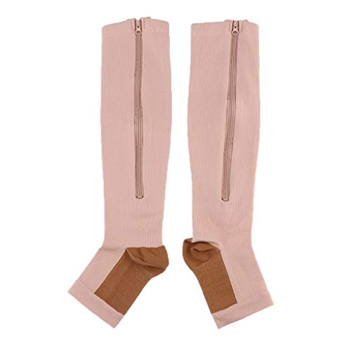 Tubayia Calcetines de compresión para Hombre y Mujer, Calcetines de compresión para Correr, Correr o Ciclismo, Color Color Carne, tamaño XX-Large