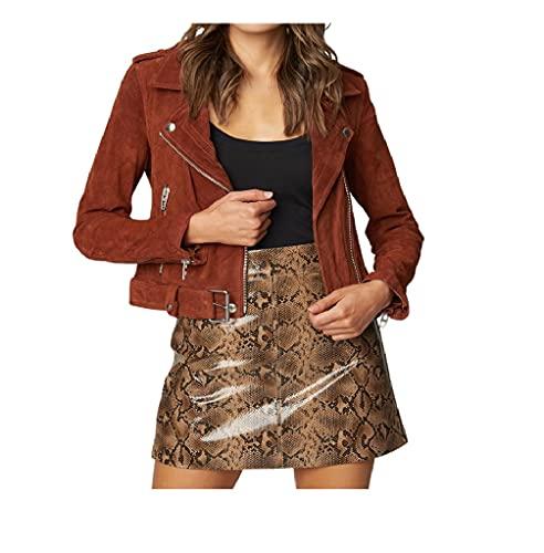 [BLANKNYC] womens Suede Moto Jacket, Dried Tobacco, Large US