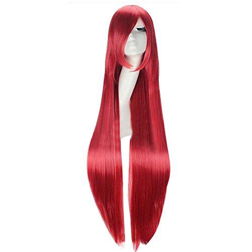 Vococal® 100cm Cheveux Perruque pour Masquerade Cosplay Cheveux Longs Raides Rouge