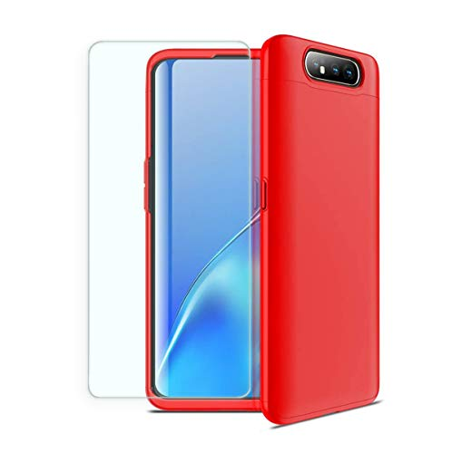 SuperW Cover per Samsung Galaxy A80 Ultra Sottile Anti-Graffio Plastica PC Shell Duro Custodia per Cellulare Smartphone Conchiglia paraurti Anti-Scratch Anti-Impronta Case (Rosso, Galaxy A80)