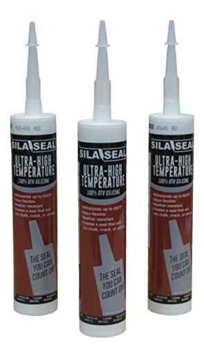SILA-SEAL Ultra-High Temperature Red (600 Degree) 100% RTV Silicone with reclosable Nozzle, 3-Pack case