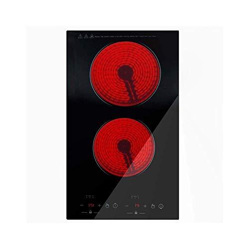 Embedded Cooker Doppelkopf Glaskeramikherd Touch-Black Crystal Panel-Doppelelektroherd 1800 1200W (schwarz rot) YCLIN