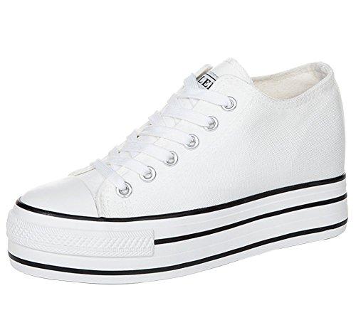 Wealsex Mujeres Plataforma Adentro Aumentar 3 CM Zapatos de Lona,Zapatos Vulcanizados Sin Cordones Zapatos de Lona Casuales