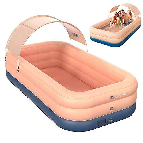 jdiw Piscina Inflable Familiar,Piscinas para niños al Aire Libre 210 x 150 x 68cm Inalámbrico Inflable Piscina Hinchable Infantil con Parasol,Pink,260 * 160 * 68cm