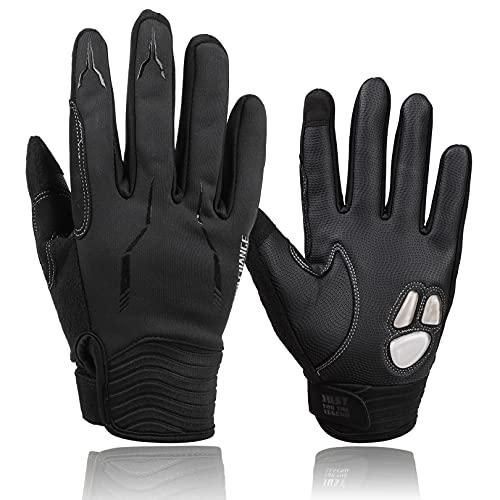 Guantes de ciclismo para hombre, compatibles con pantalla táctil, guantes de mountain bike (negro, L)