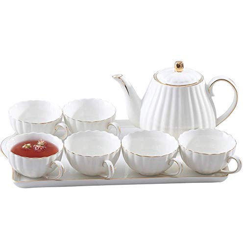 XYSQWZ 6 Pieces Simple White English Ceramic Tea Sets,Tea Pot,Bone China Cups with Wooden Holder Matching Spoons,Afternoon Tea Set Service Coffee Set