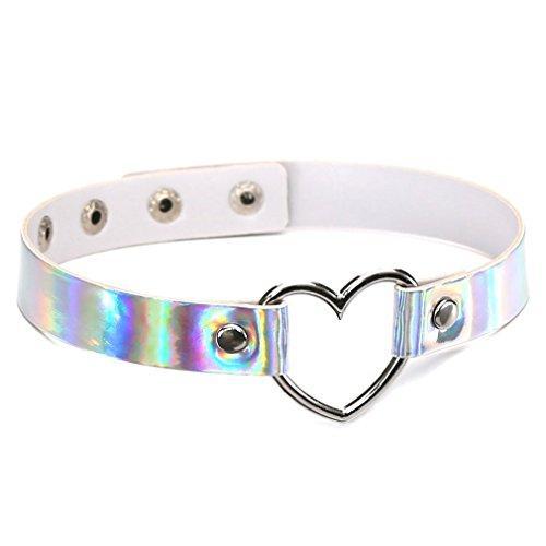 Yinew Damen Halskette Harajuku Laser Herz Halskette Halsband Glänzend Halskette Schlüsselbein Kragen