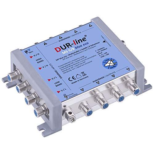 DUR-line MS 5/8 Blue eco Stromspar Multischalter - für 8 SAT Teilnehmer/TV - kein Netzteil notwendig - 0 Watt Standby Multiswitch [Digital, HDTV, FullHD, 4K, UHD]