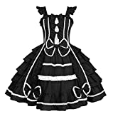 Re-Lady Women Sweet Lolita Dress Sleeveless Princess Cosplay Costumes Lace Layers Maid Dresses XL Pink