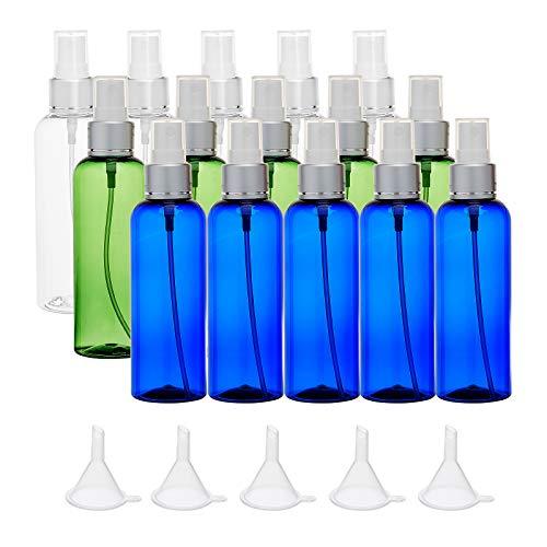 BENECREAT 15 Pack 100ml Botellas de Spray de Niebla Fina Vacías 3 Colores Atomizador de Viaje de Plástico Recipientes de Líquido Recargables con Embudos para Maquillaje Cosmético