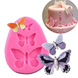 1 pcs Fondant Molds, Mini Butterfly Mold Butterfly Molds Silicone Butterfly Chocolate Mold Pink Polymer Clay Molds Small Clay Molds, Non-stick DIY Tool for Cake Decorating- Butterflies
