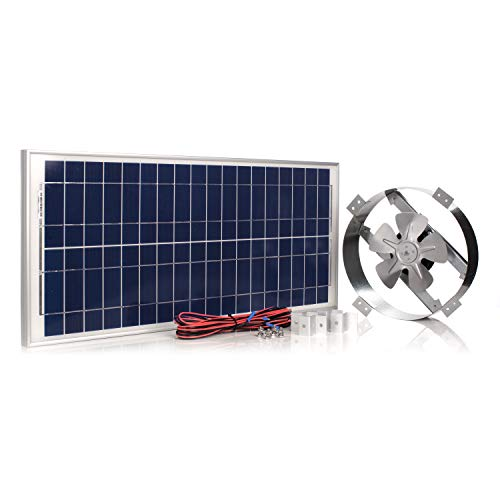 "Amtrak Solar's Powerful 40-Watt Galvanized Steel New Upgraded14"" Solar Attic Fan Quietly Cools and Ventilates your house, garage or RV and protects against moisture build-up."