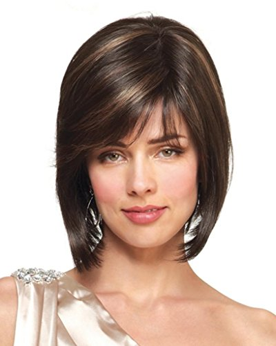 Jolie Wig Color Chocolate Swirl - Noriko Wigs Short Modern Bob Monofilament Top Synthetic Side Part