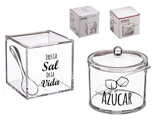 dcasa - Salero y azucarero de cocina original acrilico diseño frase . LA SAL DE MI VIDA Y MOMENTOS DULCES
