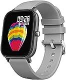 Fitness Tracker P8 Smart Watch Armband Wasserdichter Touchscreen Silikonarmband Herzfrequenz Fitness Watch Mehrere Sportarten Smartwatch Sport Fitness Tracker-Grau