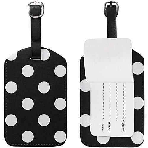 Weiße Tupfen Schwarze Isolierflasche Gepäckanhänger Reise-ID-Bag-Tag für Koffer 2 Stück