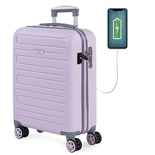 SKPAT - Maleta de Cabina para Viaje. Puerto para Cargador USB. 4 Ruedas Trolley 55 cm. ABS. Equipaje de Mano. Pequeña Rígida Cómoda y Ligera. Candado TSA. Calidad. 175050, Color Rosa