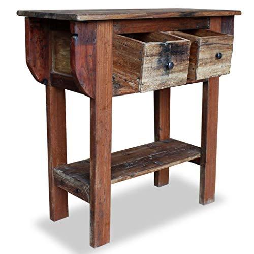 Festnight- Konsolentisch mit 2 Schubladen | Massivholz Vintage Beistelltisch | Retro Couchtisch Holztisch für Schlafzimmer Wohnzimmer, Altholz Massiv 80 x 35 x 80 cm