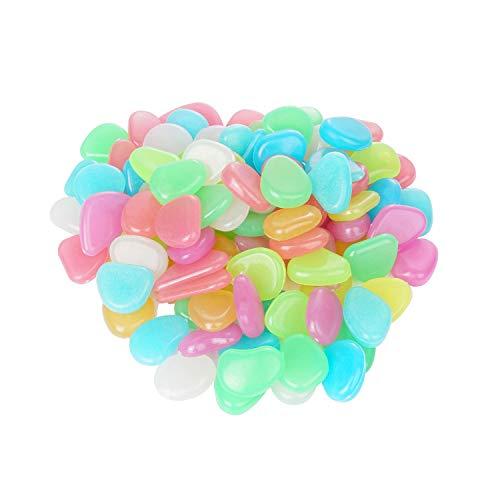 moinkerin100 Piezas Piedras Luminosas de Colores, Piedras Guijarros Brillan en la Oscuridad la Decoración de Jardín, Pasarela y Decoración, Grava de Resina Decorativa