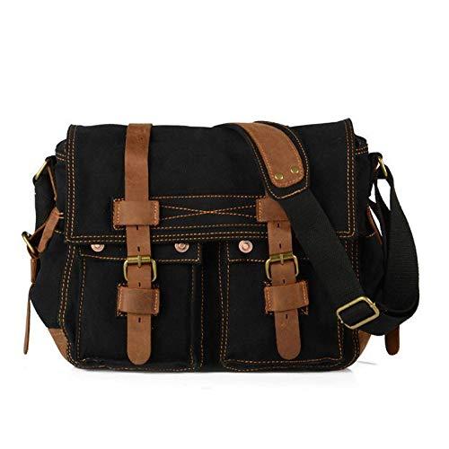CMZ Backpack Men's Canvas Shoulder Bag Solid Color Simple Outdoor Bag Messenger Bag Men's Casual Bag 14 Inch Men's Bag