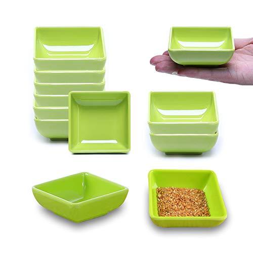 sinzau - Ciotole per salse, 12 pezzi, quadrate, per salsa di soia, salse, spezie, contorni e snack, colore: Verde