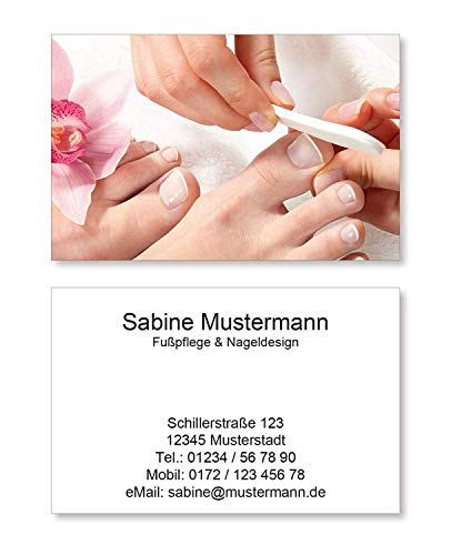 250 Visitenkarten für Fußpflege Pediküre Nageldesign Nagelstudio - 350g Bilderdruck matt