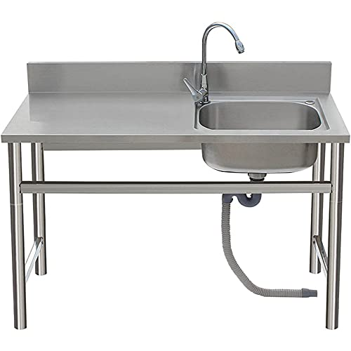 LQY Fregadero Comercial de Acero Inoxidable, Fregadero de Cocina con Grifo de Agua fría y Caliente, tamaño de la Tina Interior 19'l x 15' w x 8'd para Cocina Restaurante lavadero lavadero