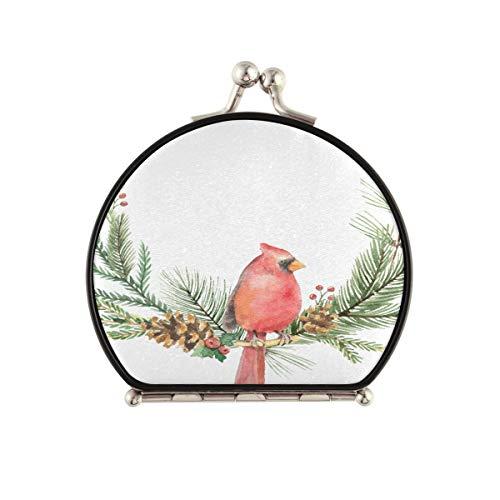 Kleiner kompakter Spiegel für Geldbörse Kardinal Roter Vogel mit Glocken Kompakter Schminkspiegel für Geldbörse Doppelseitig mit 2 x 1-facher Vergrößerung Faltbarer tragbarer Mini-Reise-Schminkspiege