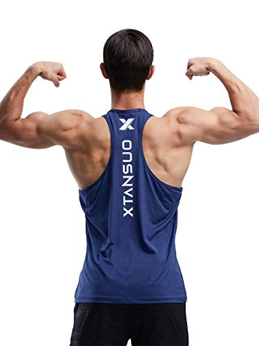 Men's Dry Fit Gym Tank Top Muscle Stringer Y Back T Shirt for Bodybuilding Fitness Training Athletic Workout (Blue,XXL)
