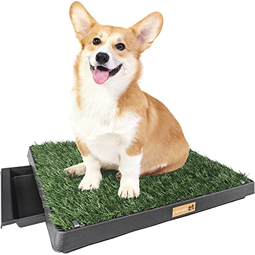 """Petush Dog Grass Pad with Tray - Puppy Potty Training Grass Mat - Improved Drainage - Turf Holding Clips - Artificial Grass Pee Patch - Indoor/Outdoor - Ideal for Small Dogs and Puppies - 25""""×20"""""""