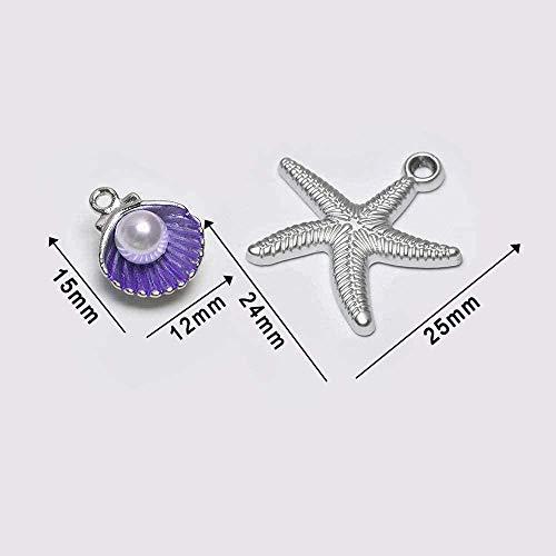 FACAIBA Collar con Colgante de Concha esmaltada para Mujer, Colgante de Collar, fabricación de Cuentas de aleación, Pulsera, Accesorio de joyería DIY