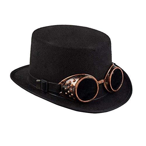 Boland 54500 - Hut Steamgoggles, Zylinder, abnehmbare Schweißer-Brille, Steampunk, Neuzeit, Erfinder, Kostüm, Karneval, Halloween, Mottoparty