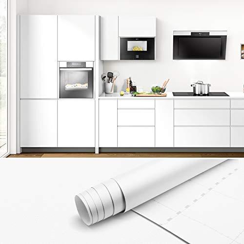 Papel Pintado Autoadhesivo Blanco 61x500cm PVC Papel de Pared Decorativo Papel Pintado Pared Vinilos Muebles Cocina Papel Adesivos Decorativos Muebles Pegatina de Muebles de Cocina para Cocina Bañ