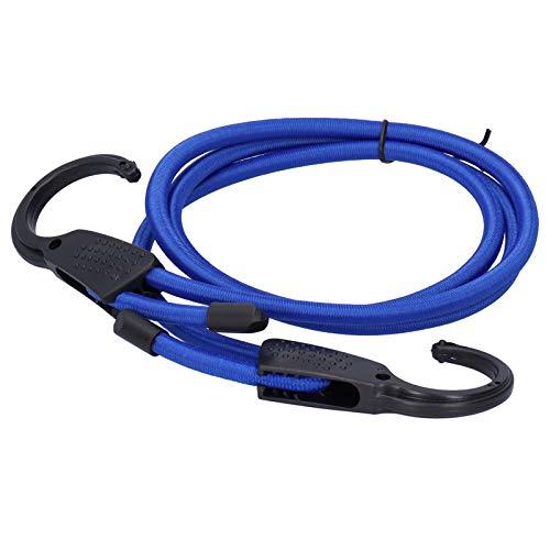 Duokon Cuerda para Equipaje de Coche, Cable de Goma para Equipaje de 1,5 m con Rejilla Fija de plástico, tendedero de Coche elástico Ajustable Multiusos para Uso en Viajes, Azul