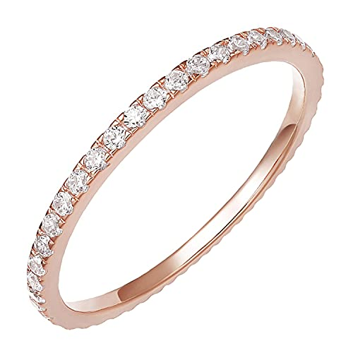 PAVOI AAAAA CZ 14K Rose Gold Plated Silver Cubic Zirconia Stackable Eternity Ring - Size 6