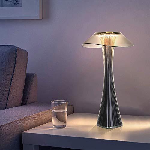 ZMH Lampe de table design rechargeable lampe à poser LED tactile - Dimmable Titane lampe de chevet USB 3W lampe de bureau sans fil avec batterie et abat-jour pour chambre salon et bureau