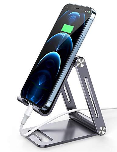 UGREEN Soporte Móvil Mesa, Atril Movil Multiángulo Universal Soporte Ajustable Soporte para Smartphone Plegable de Aluminio, Compatible con Xiaomi Redmi Note 9/ Redmi 9, iPhone 12/11/XR, Samsung S21 🔥