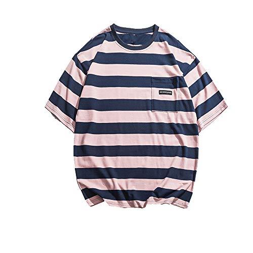 NOBRAND T-shirt ample à manches courtes et rayures pour homme - Rose - M