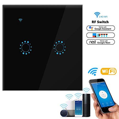 Interruptor de luz WiFi, interruptor táctil Orville con control remoto de aplicación de voz, función de temporizador, protección de sobrecarga, compatible con Alexa y Google Home, negro