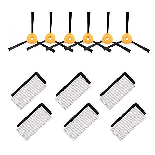 Lot d'accessoires de Rechange Zealand 6 brosses latérales + 6 filtres HEPA + 6 éponges compatibles avec Les aspirateurs Ecovacs Deebot 600/601/605