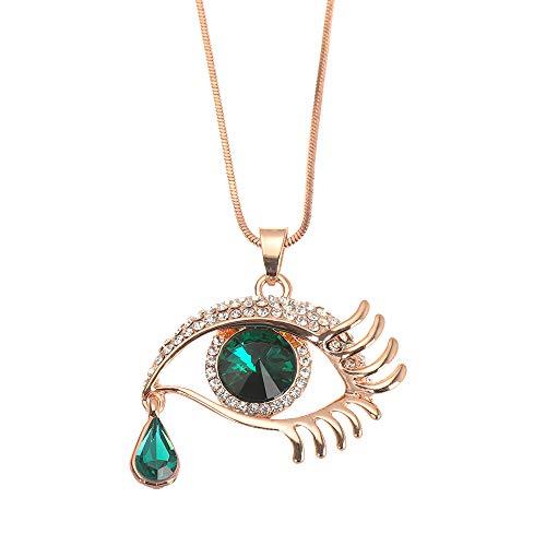 Vintage para la fiesta de boda Mujeres Regalo Cristal Colgante Ojo Azul Charm Rhinestone Collar Suéter Cadena (verde)