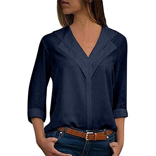 Yowablo Bluse Damen Chiffon Elegant V-Ausschnitt Knopf Elegant Langarm Casual Oberteile Hemd Lose Langarmshirt Tops (L,1- Marine)